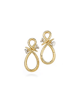 18k Infinity Nail Earrings with Diamonds