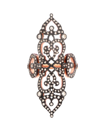 18k Rose Gold Cross Ring with Diamonds