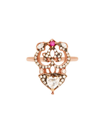 18k Rose Gold Ring with Heart-Shaped Diamond