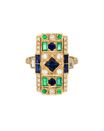 Harlequin 18k Gold Ring with Diamonds, Emeralds & Blue Sapphires