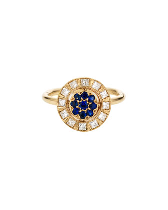 Harlequin 18k Gold Round Ring with Diamonds & Blue Sapphires
