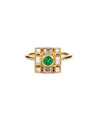 Harlequin 18k Gold Square Ring with Diamonds & Emeralds