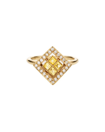 Harlequin 18k Gold Ring with Diamonds & Yellow Sapphires