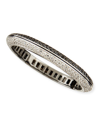 Pave White Zircon & Black Spinel Bangle Bracelet