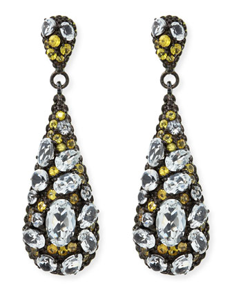 Yellow Sapphire & White Topaz Teardrop Earrings