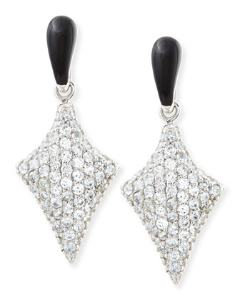 Art Deco Black Enamel & White Zircon Pave Arrow Earrings