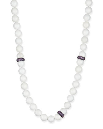 White Agate Beaded Necklace with Pave Amethyst