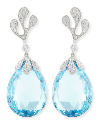 Sealeaf Collection 18k White Gold Diamond & Faceted Blue Topaz Earrings