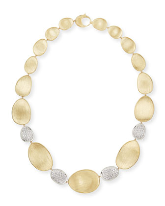 Diamond Lunaria 18k Gold 4-Pave Necklace, 18