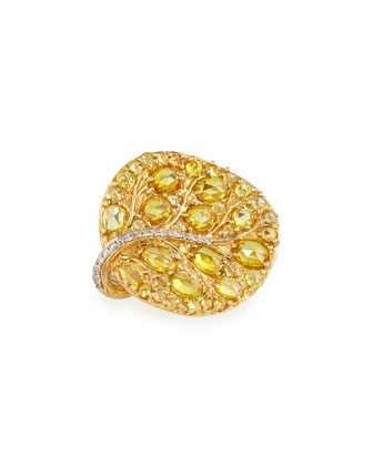 Botanical Leaf Yellow Sapphire Ring