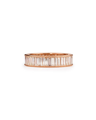 14k Rose Gold Baguette Diamond Band Ring