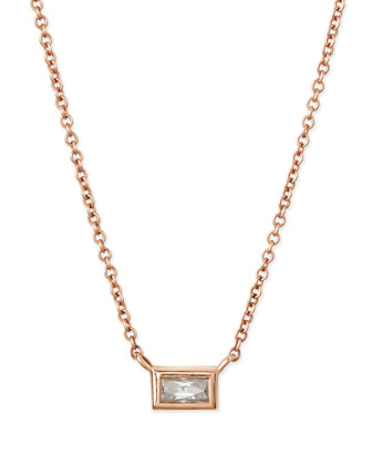 18k Rose Gold Baguette Diamond Pendant Necklace