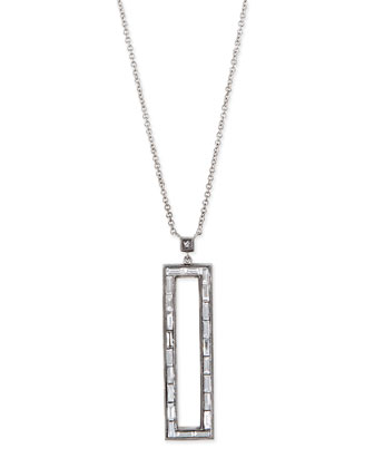18k Diamond Rectangle Pendant Necklace