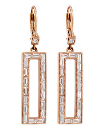 Diamond Rectangle Drop Earrings