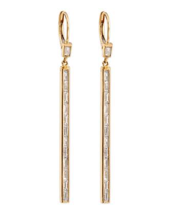 18k Gold Linear Diamond Drop Earrings