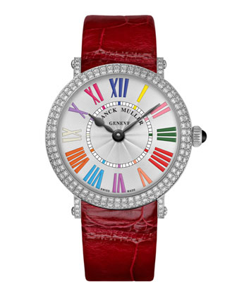 Ladies Color Dreams Ronde Diamond Watch with Alligator Strap