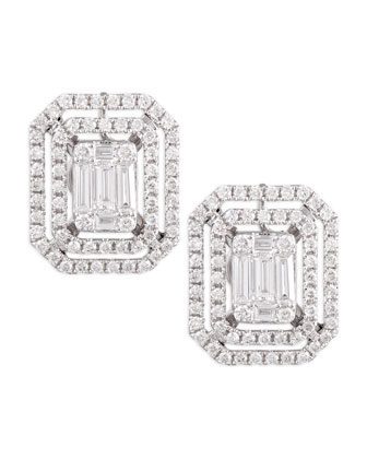 Emerald-Cut Diamond Earrings with Illusion Setting and Double Halos