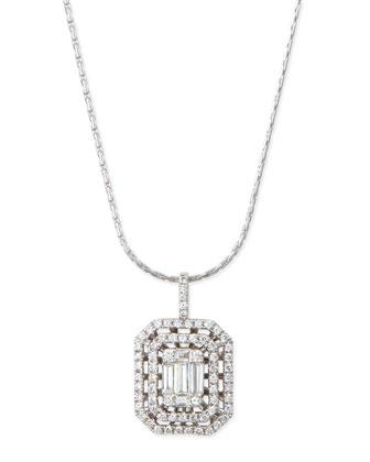Emerald-Cut Diamond Pendant with Illusion Setting and Double Halos