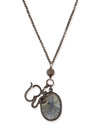 Carved Labradorite & Pave Diamond Pendant Necklace, 42