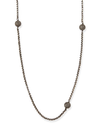 Sterling Silver Necklace with Pave Diamonds, 54