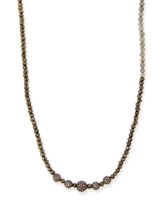 Pyrite & Labradorite Necklace with Pave Diamonds, 44