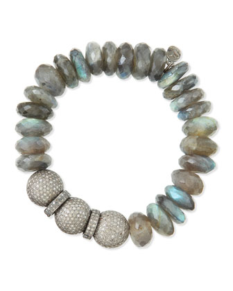 14mm Labradorite & Pave Diamond Beaded Bracelet