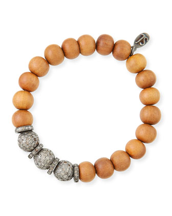 10mm Sandalwood & Pave Diamond Bracelet