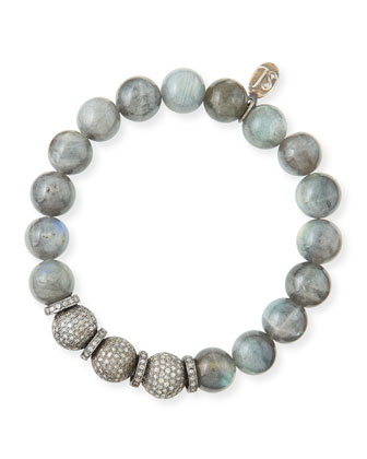 10mm Labradorite & Pave Diamond Bracelet
