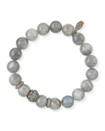 10mm Labradorite & Pave Diamond Rondelle Bracelet