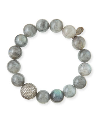 12mm Labradorite & Pave Diamond Bead Bracelet