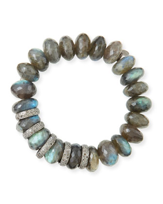 14mm Faceted Labradorite & Pave Diamond Rondelle Bracelet