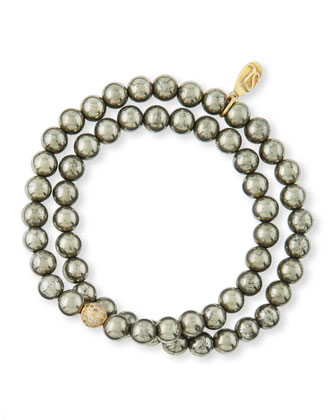 Pyrite & Pave Diamond Double-Wrap Bracelet