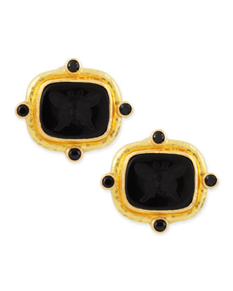 Butterfly Intaglio Clip/Post Earrings, Black