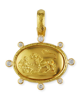 19k Gold Eros & Lion Pendant with Diamonds