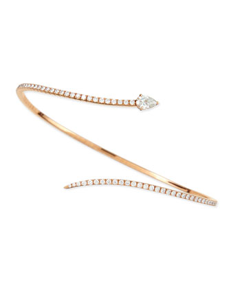 18k Rose Gold Pave Diamond Snake Bracelet