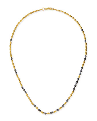 Dark Mist 24k Gold & Black Diamond Necklace, 16