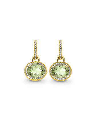 Classic Green Amethyst Diamond Earrings