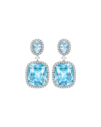 Signature Blue Topaz & Diamond Drop Earrings