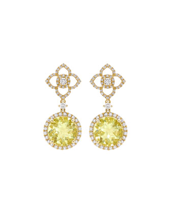 Aurora Lemon Quartz & Diamond Drop Earrings