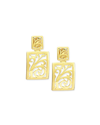18k Gold Open-Scroll Drop Earrings