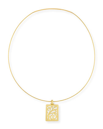 18k Gold Open-Scroll Pendant Necklace