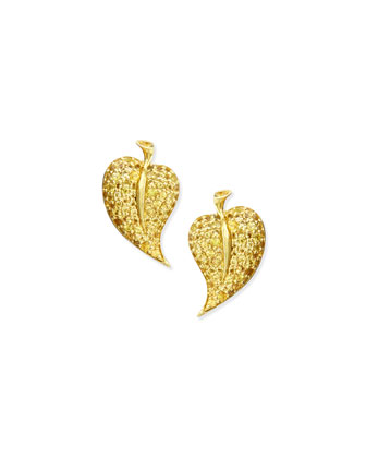 18k Yellow Sapphire Leaf Stud Earrings