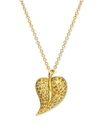 18k Yellow Sapphire Leaf Pendant Necklace