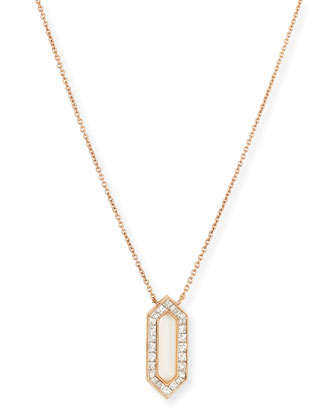 18k Rose Gold Hexagon Diamond Pendant Necklace