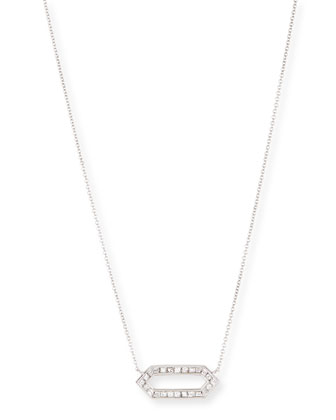 18k White Gold Hexagon Diamond Pendant Necklace