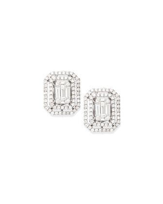 Emerald-Cut Diamond Illusion Stud Earrings