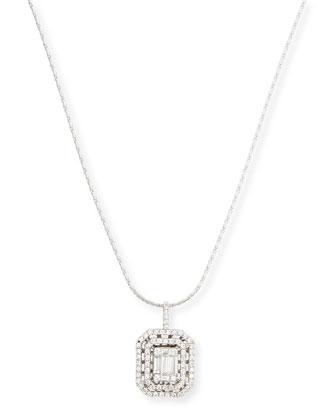 Emerald-Cut Diamond Illusion Pendant Necklace
