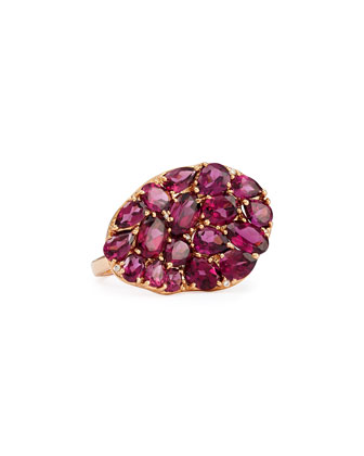 Wavy Rhodolite & Diamond Ring, Size 6.5