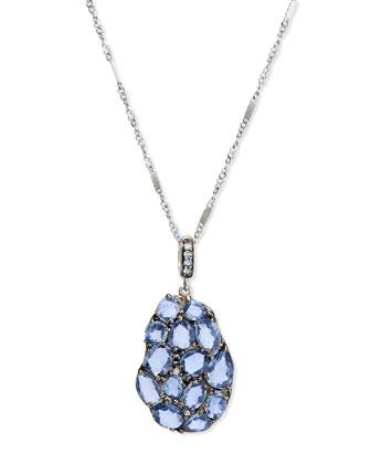 Blue Sapphire & Diamond Wavy Pendant Necklace