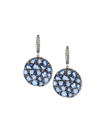 Blue Sapphire Round Wavy Drop Earrings